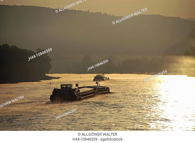 Inland navigation, dusk, Germany, Europe, Rhine river, infrastructure, daybreak, morning, morning mood, navigation, No