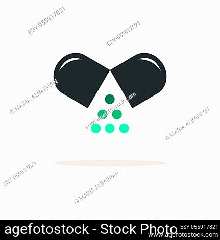 Opened pill. Icon with shadow on a beige background. Pharmacy flat vector illustration