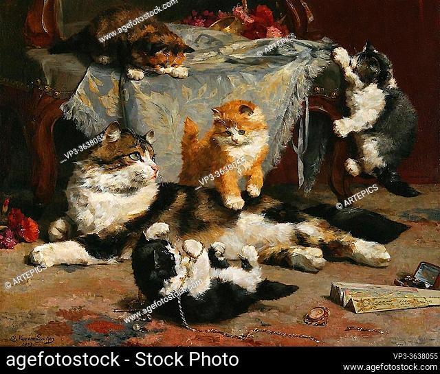 Eycken II Charles Van Den - Kittens at Play 2 - Belgian School - 19th Century
