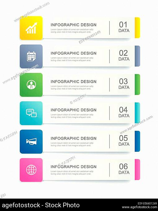 6 data infographics tab index template design. Vector illustration abstract background. Can be used for workflow layout, business step, banner, web design