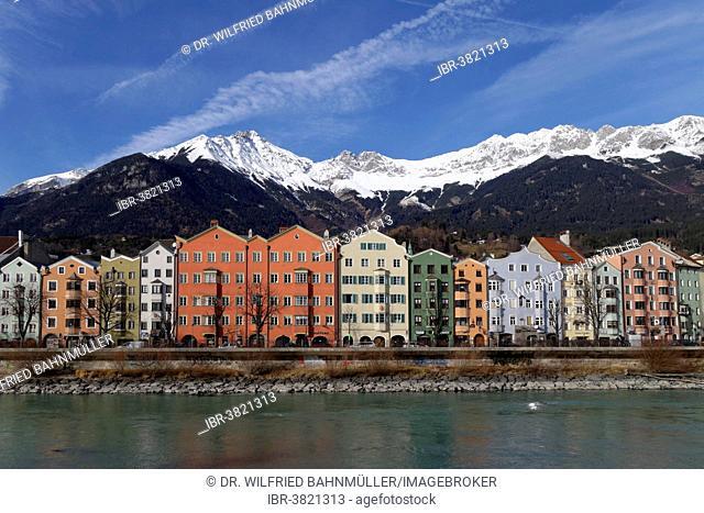 Buildings on the Inn River, Mariahilfer Straße street, with the Karwendel Range, Maria Hilf, Innsbruck, Tyrol, Austria