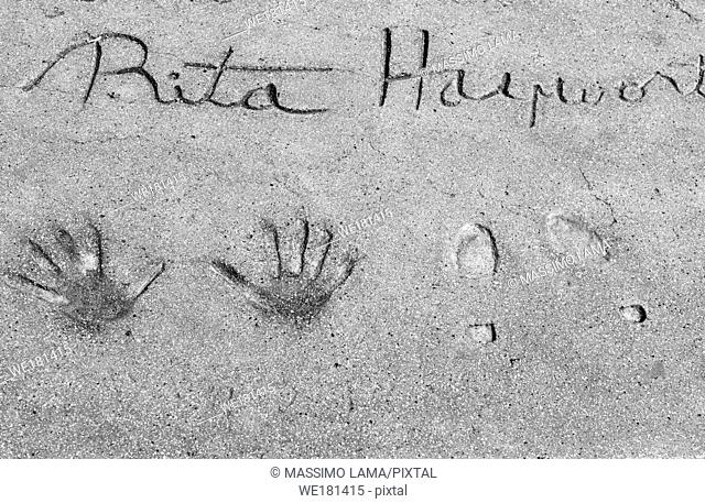 Rita Hayworth footprints, walk of fame, Hollywood