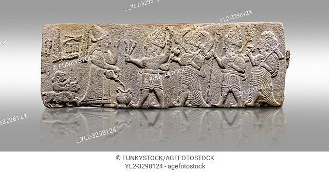 Aslantepe Hittite relief sculpted orthostat stone panel. Limestone, Aslantepe, Malatya, 1200-700 B. C. . Anatolian Civilisations Museum, Ankara, Turkey