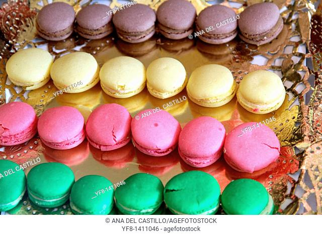 Macarons on a golden tray