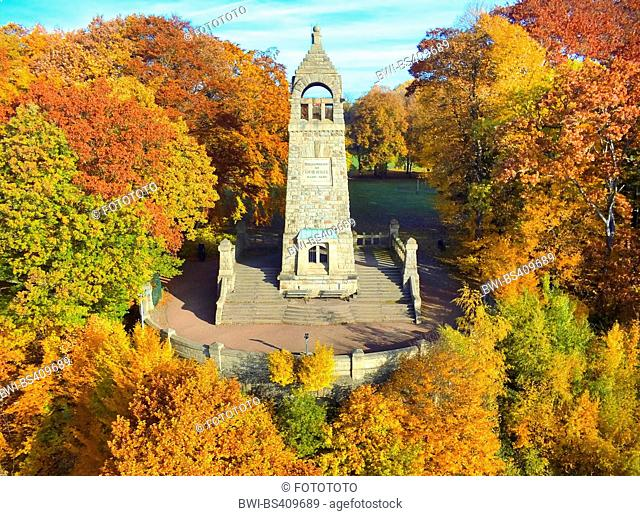 aerial view to Berger monument at the Hohenstein in autumn forest, Germany, North Rhine-Westphalia, Ruhr Area, Witten