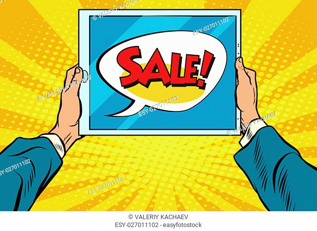 Electronic tablet in hand, sale, pop art retro vector. Computer sales, cyber Monday sales