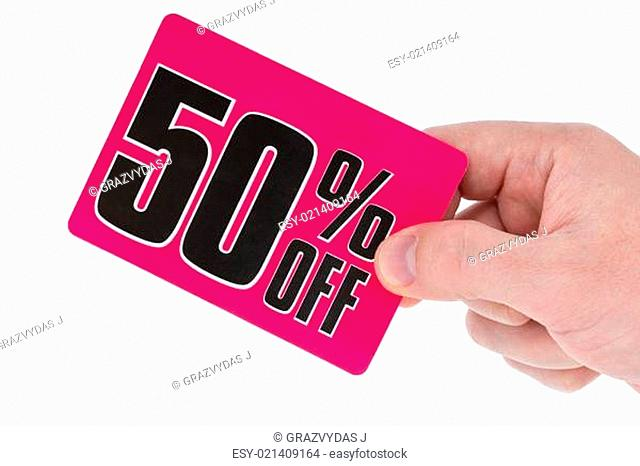 Hand with a sale tag