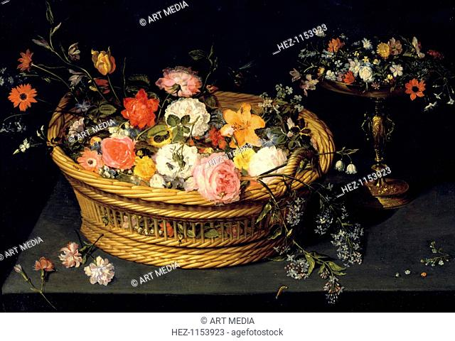 'Flower Basket and Goblet in Gilded Silver', still life, 17th Century