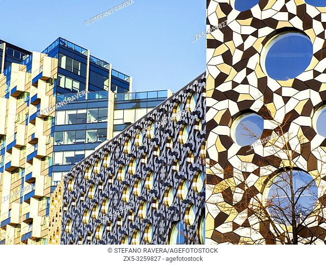 Close up of the Ravensbourne University London and apartment building in the Greenwich Peninsula - South East London, England
