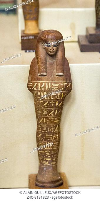 Egypt, Cairo, Egyptian Museum, from the tomb of Yuya and Thuya in Luxor : Ushebti, in wood. The arms and hands are not shown