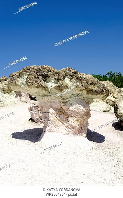 Rock phenomenon Stone mushrooms near town of Kardzhali, Rhodope, Bulgaria