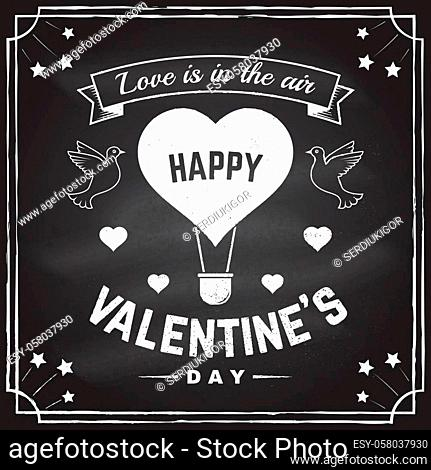 Happy Valentines Day. All you need is love. Stamp, overlay, badge, sticker, card with birds and hot air balloon. Vector. Vintage design Valentines Day romantic...