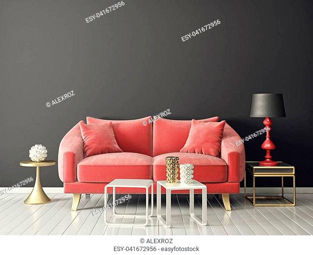 modern living room red sofa and lamp. scandinavian interior design furniture. 3d render illustration