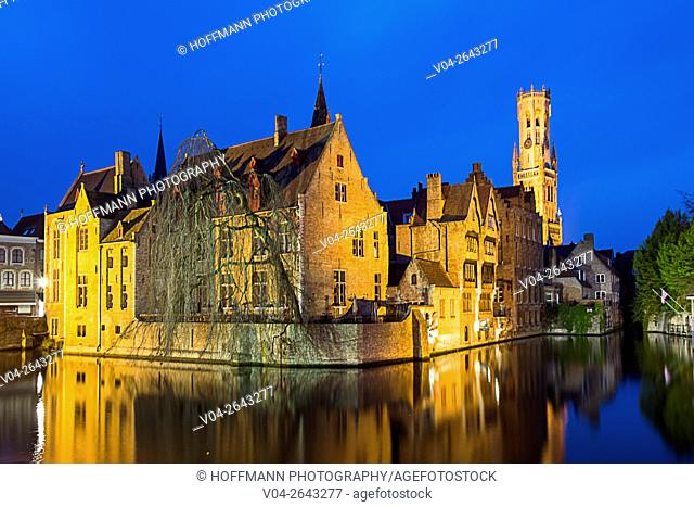 The picturesque city of Bruges with the Belfry at twilight, Belgium, Europe