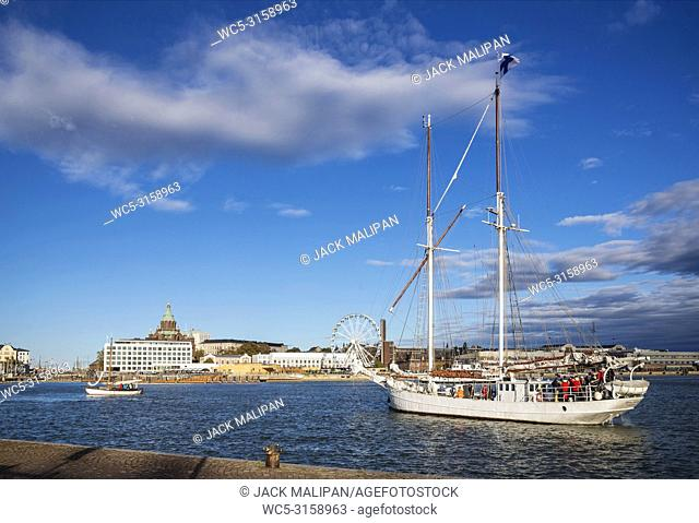 view of sailing boats in helsinki city harbor port in finland