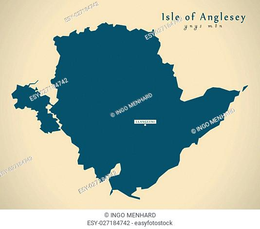 Modern Map - Isle of Anglesey Wales UK illustration