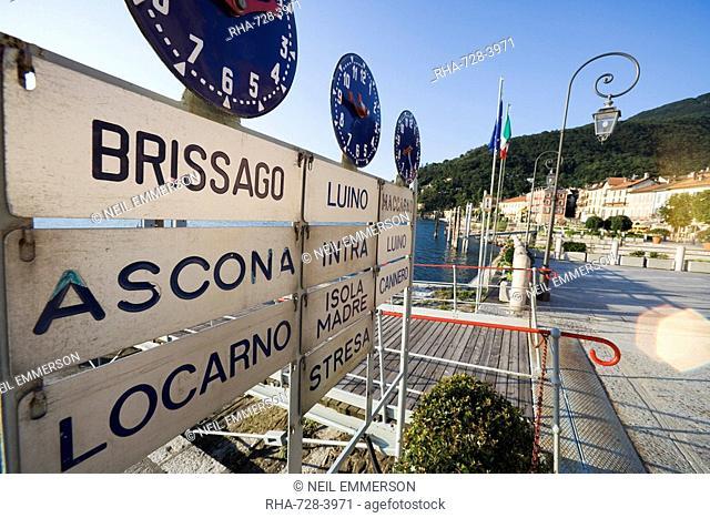 Ferry stand, Lake Maggiore, Italian Lakes, Italy, Europe