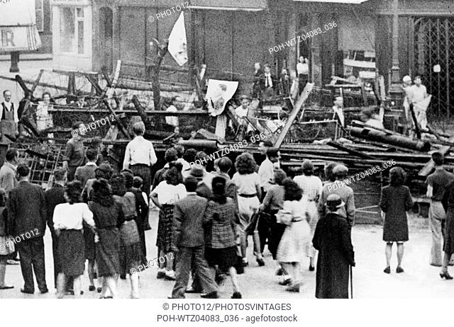 Barricade in the streets of Paris, during the Liberation World War II Liberation of Paris