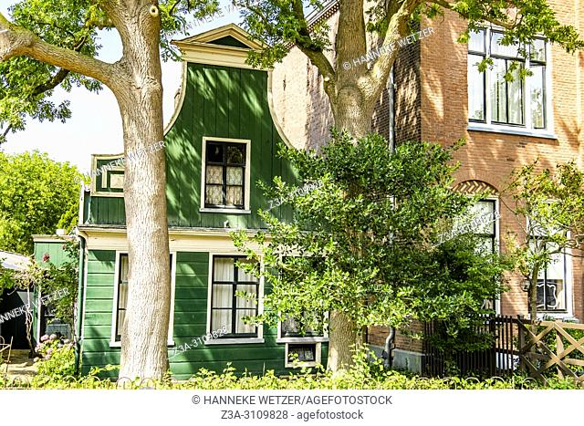 Traditional Dutch wooden houses at the Zaanse Schans, North-Holland, the Netherlands, Europe