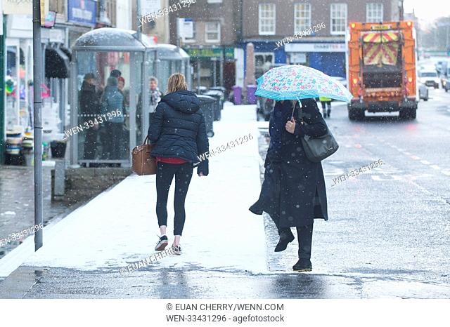 Northern Scotland is hit by snow fall and below freezing temperatures as snow arrives as far south as Montrose Featuring: Atmosphere Where: Montrose