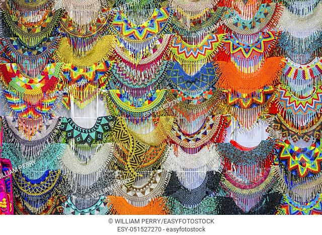 Colorful Mexican Bead Necklaces Handicrafts Red Blue Turquoise Yellow Green Oaxaca Juarez Mexico