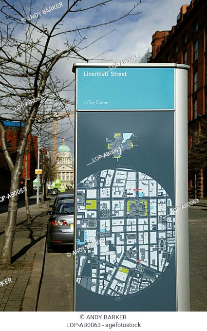 Northern Ireland, Belfast, Linenhall Street, Close up of a tourist information and map on a street in Belfast