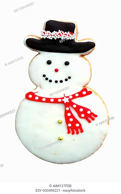 Holiday Snowman Gingerbread Man Cookie isolated on white background