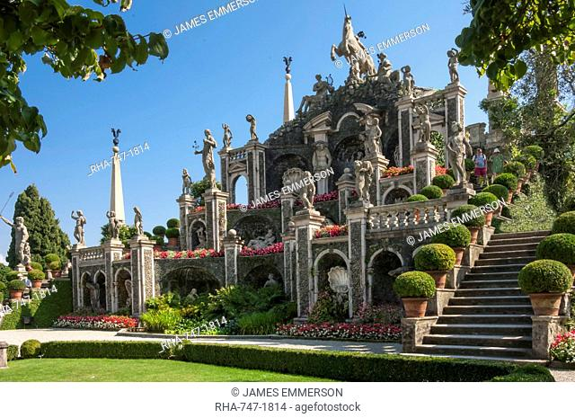 Floral Fountains, Isola Bella, Borromean Islands, Lake Maggiore, Piedmont, Italian Lakes, Italy, Europe