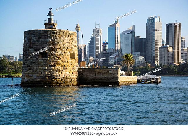 Fort Denison and CBD behind, Sydney, Australia