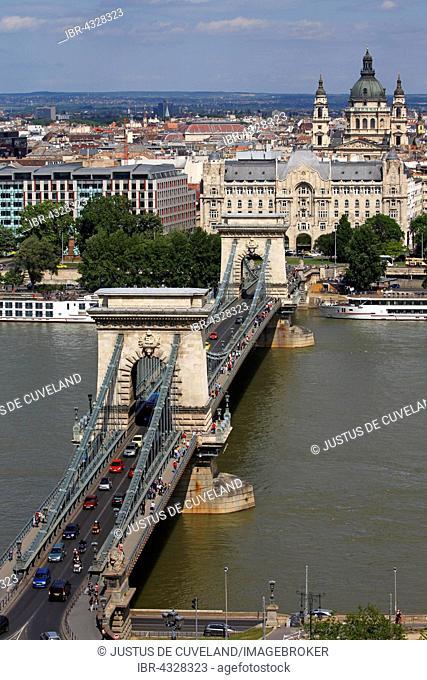 Chain Bridge over the Danube, Budapest, Gresham Palace and St. Stephen's Basilica, Pest, Budapest, Hungary