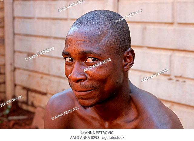 Portrait of pool area digging worker, Moreleta Park, Pretoria, Gauteng Province, South Africa