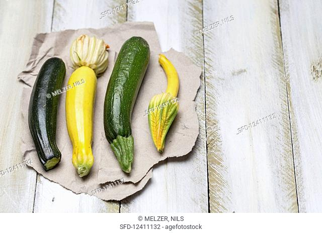 Courgette and courgette flowers on paper