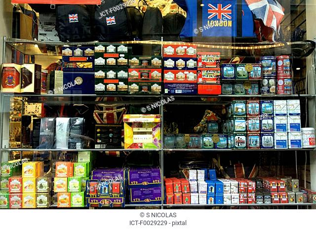 England, London, tea boxes