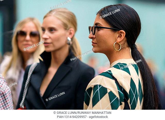Katarina Petrovic waiting outside the Rodebjer runway show during Stockholm Fashion Week - Aug 30, 2017 - Photo: Runway Manhattan/Grace Lunn ***For Editorial...