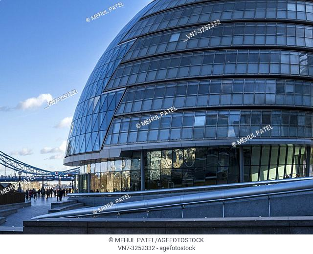 London City Hall, the location of the London Greater Authority, the London Assembly and the Mayor of London offices, London, UK