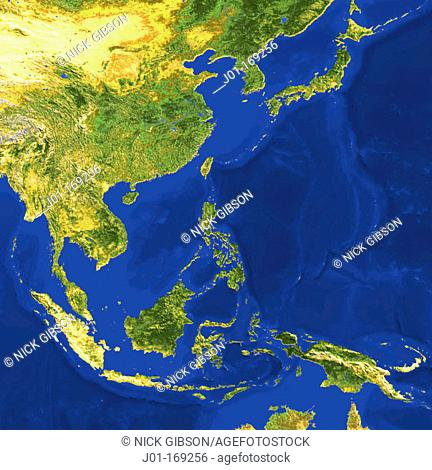 AVHRR natural colour satellite image of Indochina and Japan with shaded topographic relief