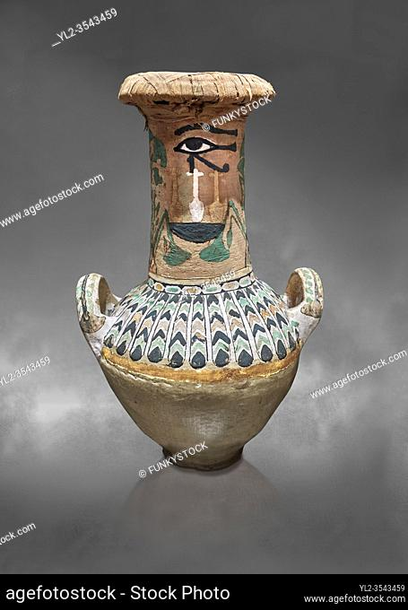 Ancient Egyptian decorated jar sealed with linen , tomb of Kha, Theban Tomb 8 , mid-18th dynasty (1550 to 1292 BC), Turin Egyptian Museum