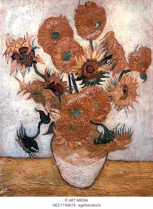 'Sunflowers', 1889. One of four paintings of sunflowers by Vincent van Gogh. From the collection of Yasuda Kasai Museum of Art, Tokyo, Japan