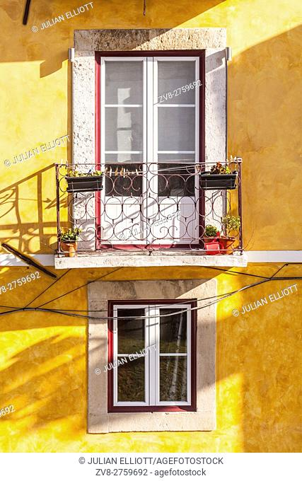 A colorful house in Alfama, Lisbon, Portugal
