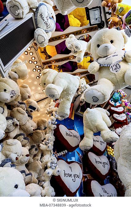 Europe, Germany, Hesse, Frankfurt am Main, teddy bears on the Dippemess