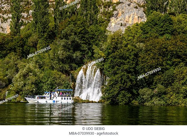 Croatia, Dalmatia, region of Sibenik, Krka National Park, Roski Slap, Visovac lake, waterfall