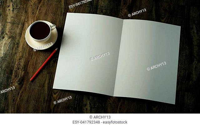 3d render mockup bi-fold double folded vertical blank A4 paper sheet, brochure, leaflet, magazine with a red pencil and a cup of coffee on a dark textured...