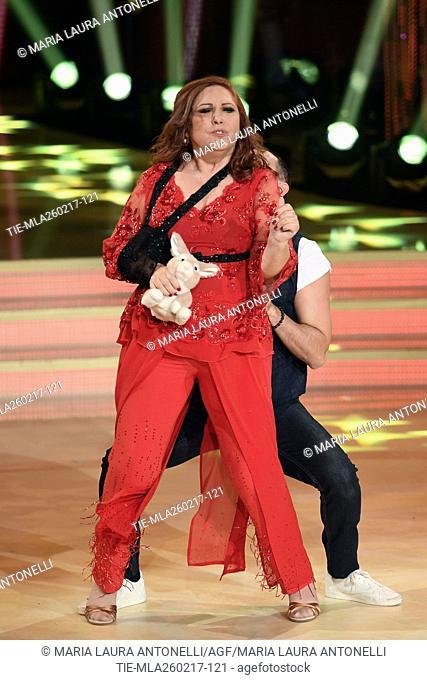 Anna La Rosa with Stefano Oradei during the tv show Ballando con le stelle, Rome, ITALY-25-02-2017