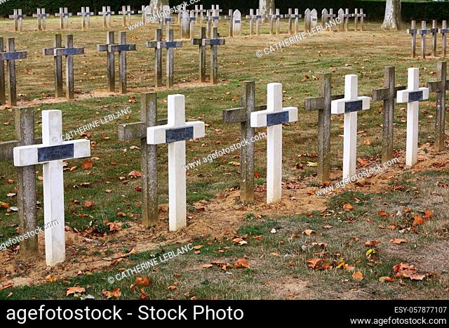 Gravestones. French military cemetery comprising 990 soldiers in four ossuaries. These men belonged to the infantry troops