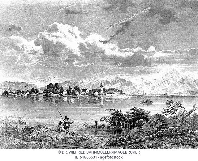 Frauenchiemsee island in Lake Chiemsee, in front of the Chiemgau mountains, about 1830, drawn by W. Scheuchzer, engraved by J