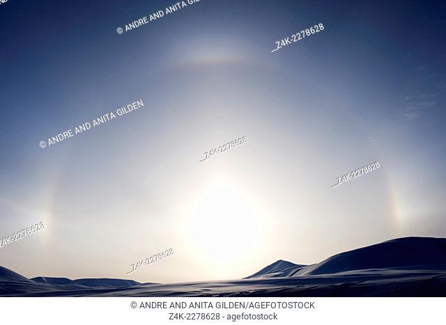 Halo over Spitsbergen landscape