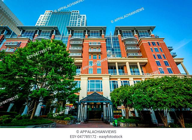 Modern buildings and The Green, in Uptown Charlotte, North Carolina