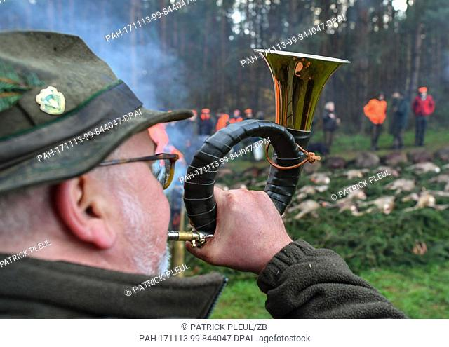 A hunter blowing a hunting horn after a hunt in a forest clearing near Heinersdorf, Germany, 11 November 2017. Diffent types of hunt are taking place in many...