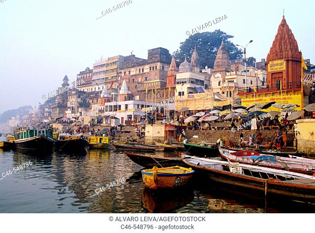 Dasaswamedha Ghat and River Ganga, Varanasi. Uttar Pradesh, India