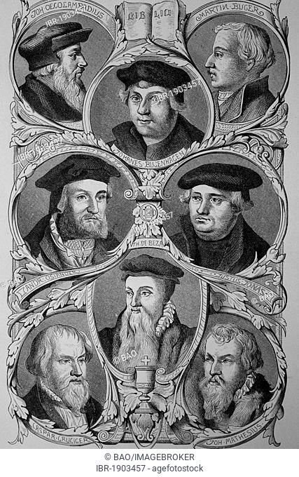 Sponsors of the Reformation by Luther: Johannes Oecolampadius, Andreas Osiander, Caspar Gruciger, Théodore de Beza, Johanes Bugenhaen, Martin Bugero